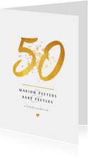 Jubileumkaart 50 jaar huwelijk goudlook klassiek