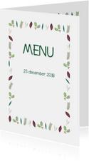 Kerstblaadjes groen menukaart