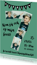 Kinderfeestje 7 jaar fotokaart voor jongen of meisje