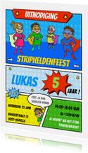 Kinderfeestje uitnodiging stripheldenfeest
