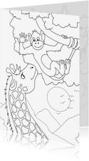 Kleurplaatkaart Aap en Giraffe - MT