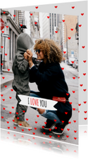 Moederdag kaart hartjes rood I love you