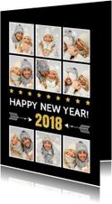 Nieuwjaarskaart fotocollage zwart - LB