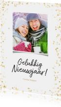 Nieuwjaarskaart staand gouden confetti - BK