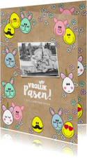 Paaskaart met vrolijke paaseitjes en foto