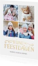 Stijlvolle enkele fotocollage kerstkaart met 4 foto's