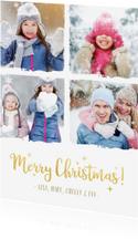 Stijlvolle kerst fotocollage kaart met een witte achtergrond