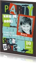 Stoere uitnodiging kinderfeestje Brayn