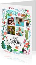Trendy verjaardagskaart Tropisch