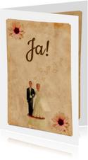 Trouwkaart vintage bruidspaar-HR