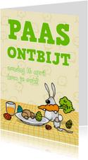 Uitnodiging Paasontbijt, -brunch, of -lunch Konijntje