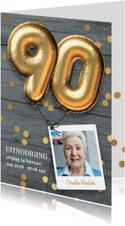 Uitnodiging verjaardag 90 jaar ballon