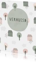 Verhuiskaart met geïllustreerde huisjes, bomen en wolken