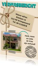 Verhuiskaart touw en label met foto van het nieuwe huis