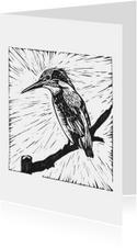 Zwart-wit woonkaart ijsvogel