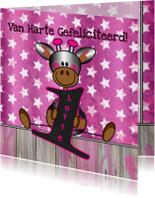 Verjaardagskaarten - 1 jaar! meisje Giraffe