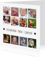Kinderfeestjes - 12 maanden kaart vierkant Wit