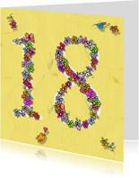 Verjaardagskaarten - 18 jaar bloemen