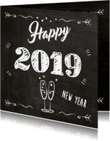 Nieuwjaarskaarten - 2019 op schoolbord met champagne