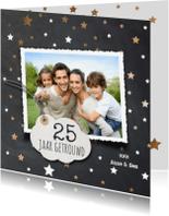 Jubileumkaarten - 25 jaar getrouwd  fotokaart met kopere sterren