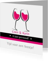 Jubileumkaarten - 25 jaar getrouwd wijnglazen - SZ
