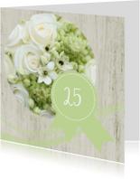Jubileumkaarten - 25 jaar jubileum witte roos