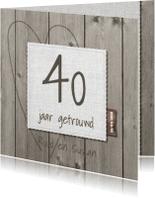 Jubileumkaarten - 25 jarige jubileumkaart hout en linnen