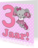 Verjaardagskaarten - 3 Jaar muis cheerleader