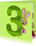 Verjaardagskaarten - 3 jaar verjaardag konijn
