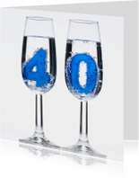 Verjaardagskaarten - 40 in champagne glazen
