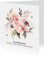 Jubileumkaarten - 40 jaar getrouwd pastel watercolor bloemen