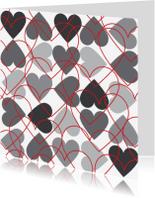 Liefde kaarten - 4k Hartjesserie rood-zwart-wit 6van6