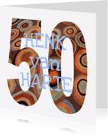 Verjaardagskaarten - 50 Cijfer mozaïekringen  - AW