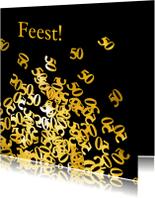 Jubileumkaarten - 50 jaar confetti gouden jubileum