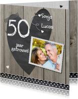 Jubileumkaarten - 50 jaar huwelijk houten linnen