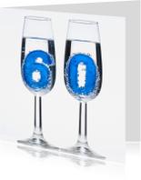 Verjaardagskaarten - 60 in champagne glazen
