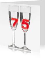 Verjaardagskaarten - 75 in champagne glazen