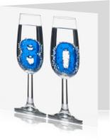 Verjaardagskaarten - 80 in champagne glazen