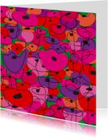 Bloemenkaarten - Abstract getekende bloemenpracht