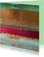 Kunstkaarten - Abstract landschap groen goud rood