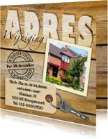 Verhuiskaarten - Adreswijziging met sleutel hout