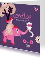 Condoleancekaarten - Afscheid kind meisje olifant
