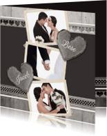 Trouwkaarten - Antraciet pas getrouwd - BK