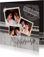 Trouwkaarten - Antraciet Verloofd! - BK