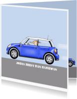 Geslaagd kaarten - auto mini cooper blauw