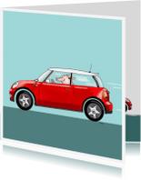 Geslaagd kaarten - auto mini cooper rood