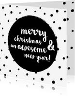 Kerstkaarten - Awesome New Year Zwarte Stippen