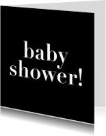 Uitnodigingen - baby shower, zwartwit