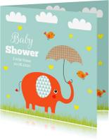 Uitnodigingen - Babyshower olifantje mint
