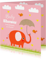 Uitnodigingen - Babyshower olifantje roze